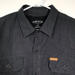 Orvis Tech Shirt XL Button Front Gray Lightweight